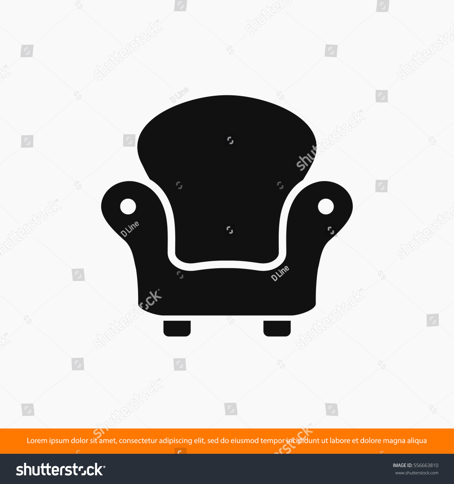 Armchair Chair Design Furniture Icon One Stock Vector 556663810 ...