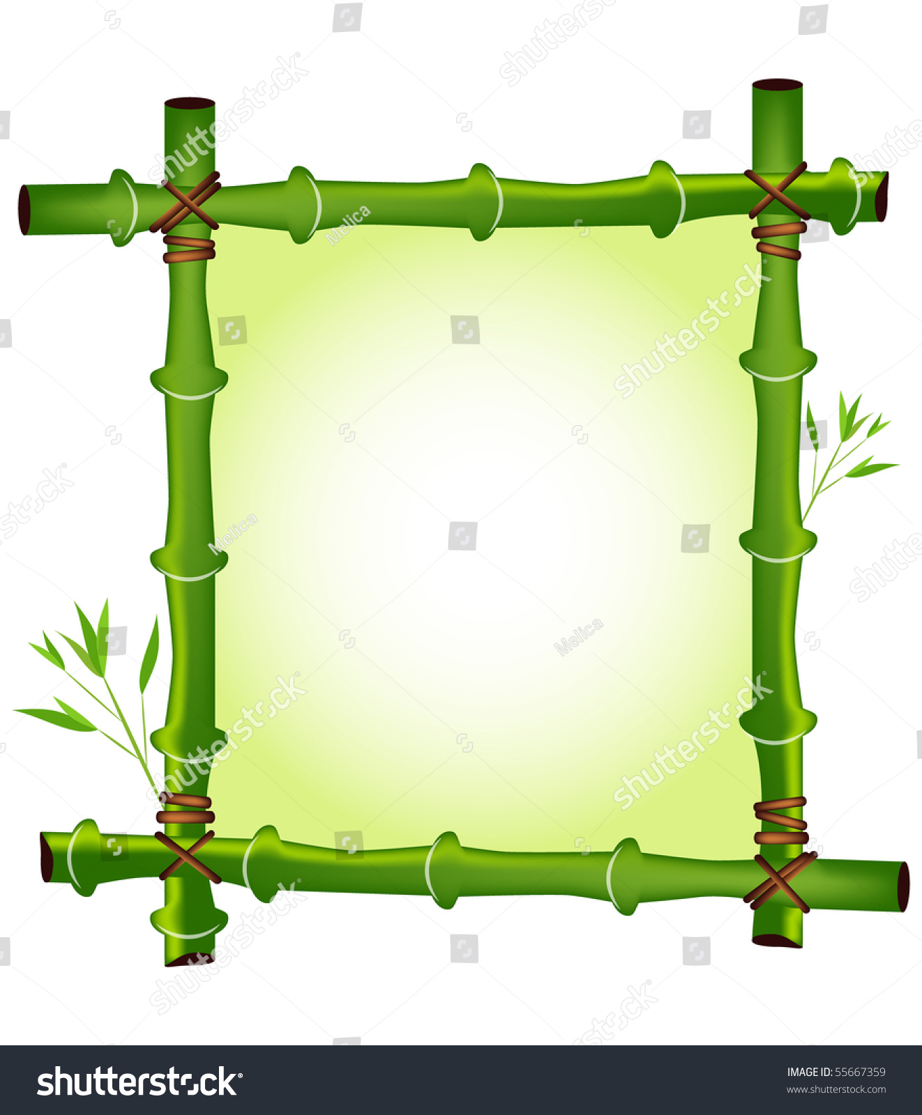 Green Bamboo Frame Design Stock Vector (Royalty Free) 55667359