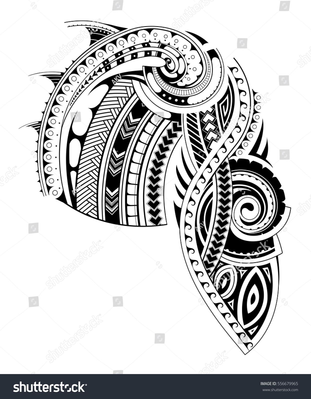 Maori style tattoo design chest sleeve stock vector for Vector tattoo sleeve