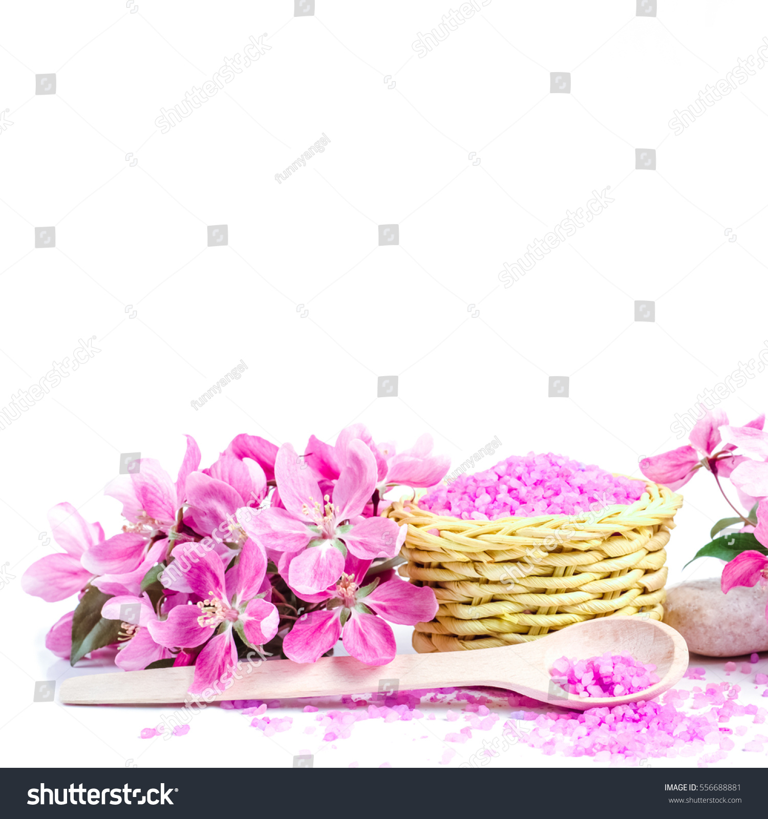 Spa sea salt and flower branch for bath. Natural health care. Beauty ...