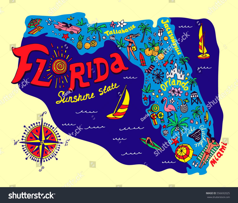 Cartoon Kort Over Florida Stat Rejser Lagervektor Royaltyfri