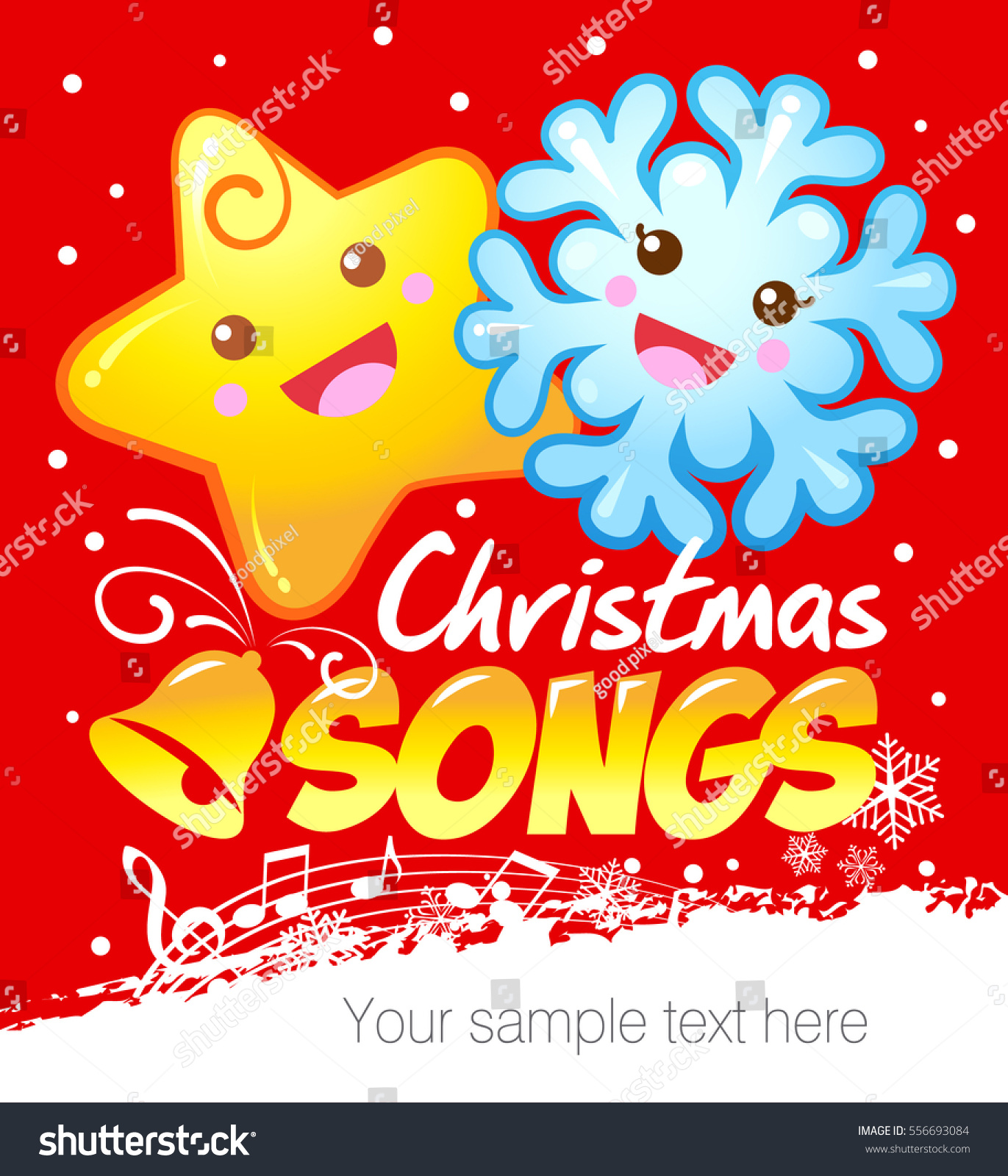 Funny Snowflake Starlet Christmas Songs Kids Stock Vector (Royalty ...