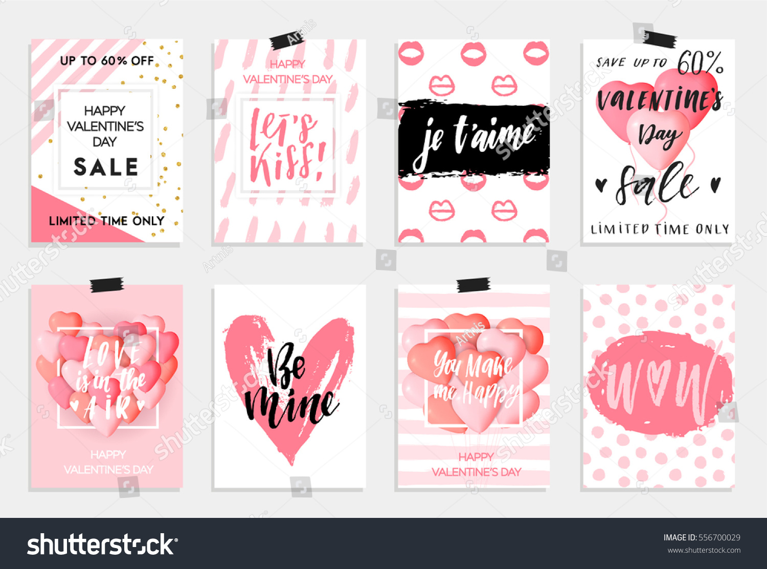 Collection of pink, black, white colored Valentine's day card, sale and other flyer templates with lettering.  Typography poster, card, label, banner design set. Vector illustration EPS10 #556700029