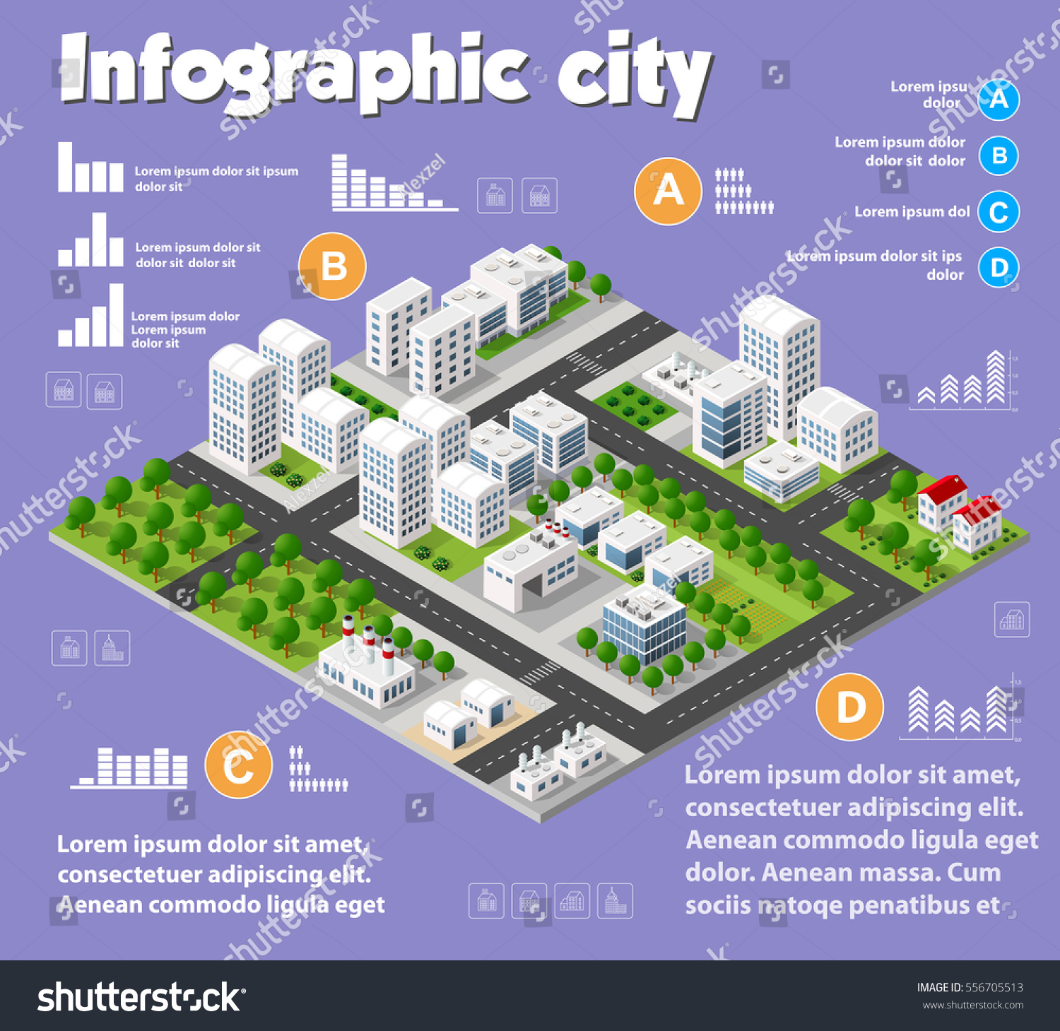 Architecture Design Elements isometric city map industry infographic set stock vector 556705513