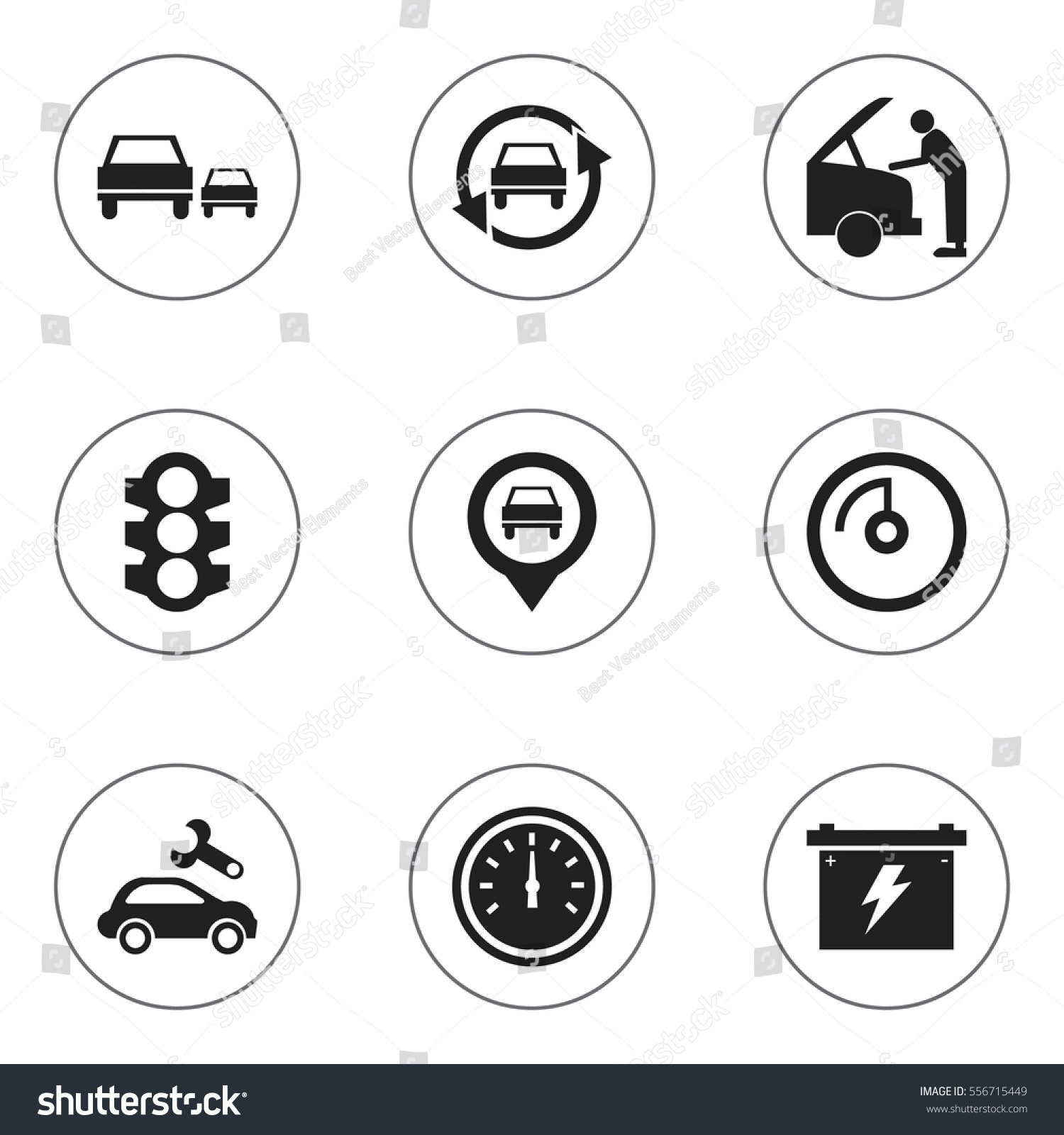 Set 9 Editable Car Icons Includes Stock Vector Royalty Free