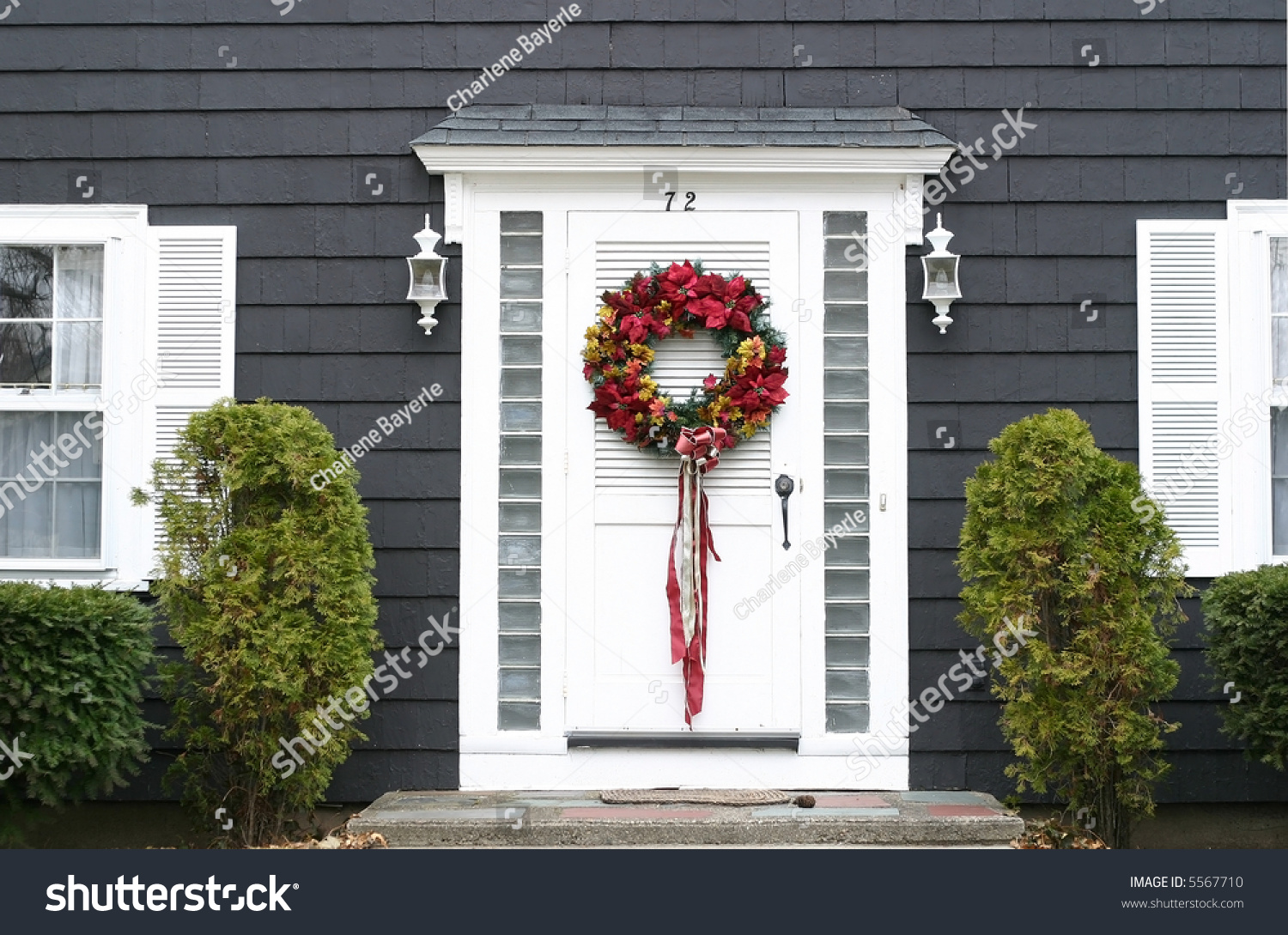 Christmas Wreath On Front Door Stock Photo Edit Now 5567710