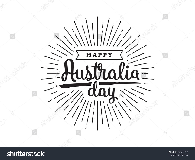 Happy Australia Day Vector Typography Text Stock Vector Royalty