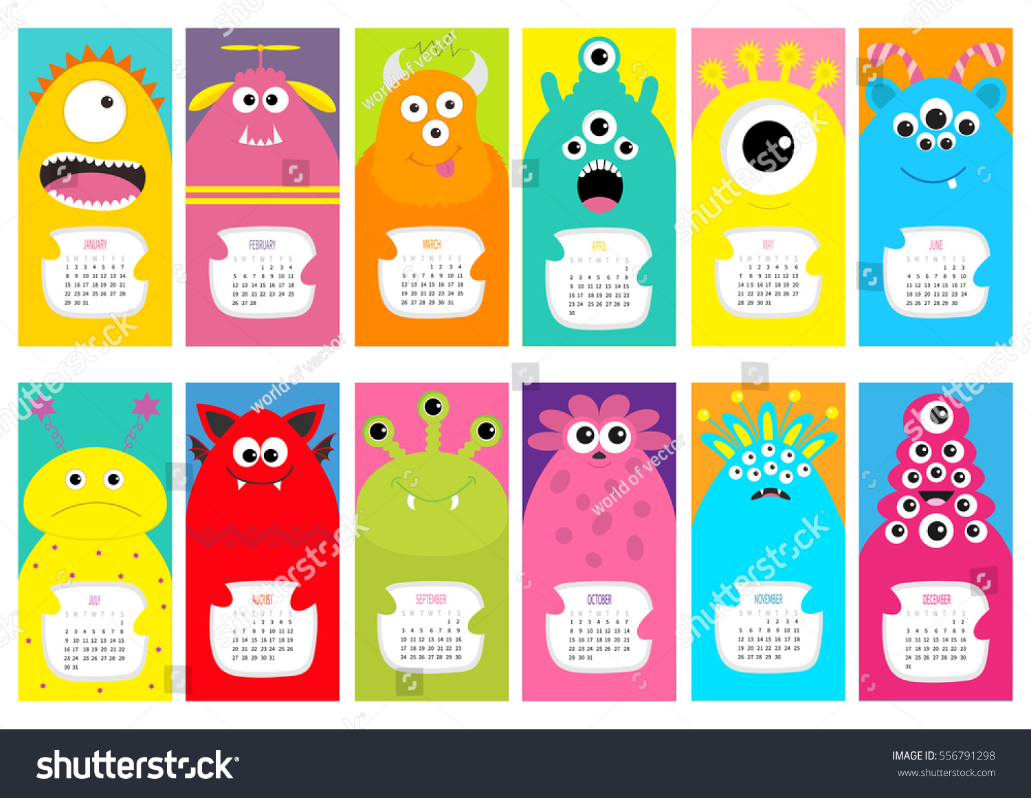 Vertical Calendar Design : Monster vertical monthly calendar cute stock vector
