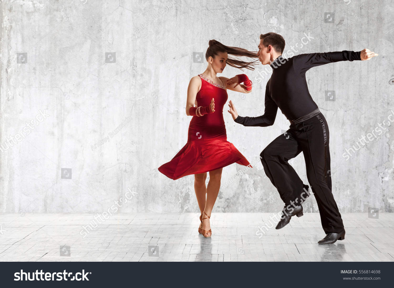 Dance Beautiful Couple Dancing Ballroom Dancing Stock ...