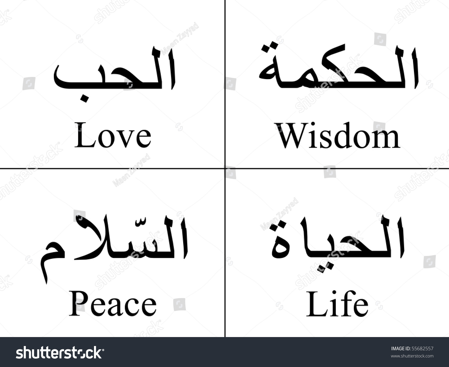 Arabic words isolated on white their stock illustration 55682557 arabic words isolated on white with their meaning in english for tattoos topics symbols biocorpaavc