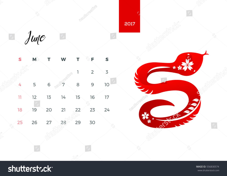 Zodiac Calendar June : Modern animals chinese zodiac monthly stock vector