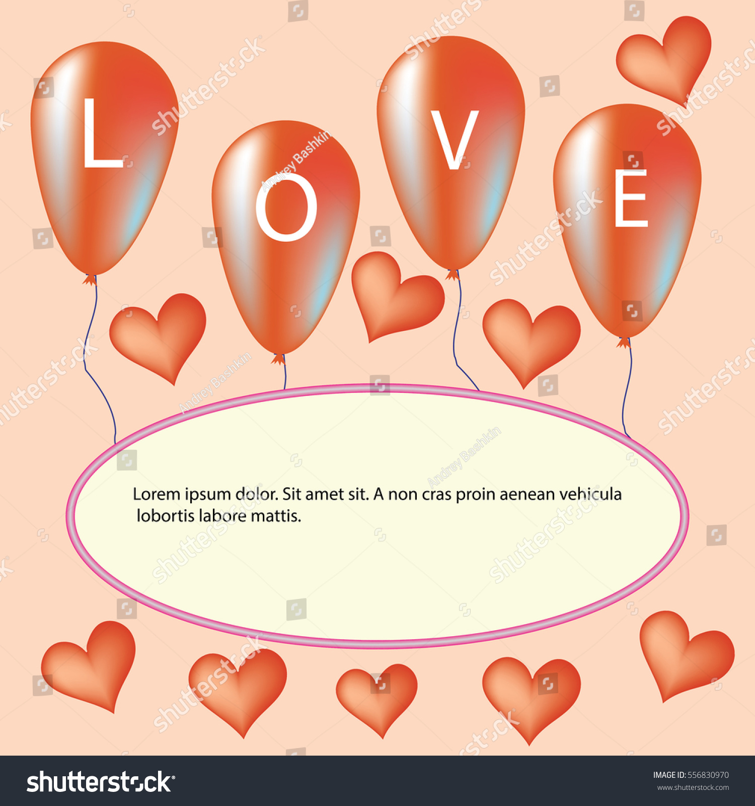 Love You Valentine's Day Greeting card, vector illustration #556830970
