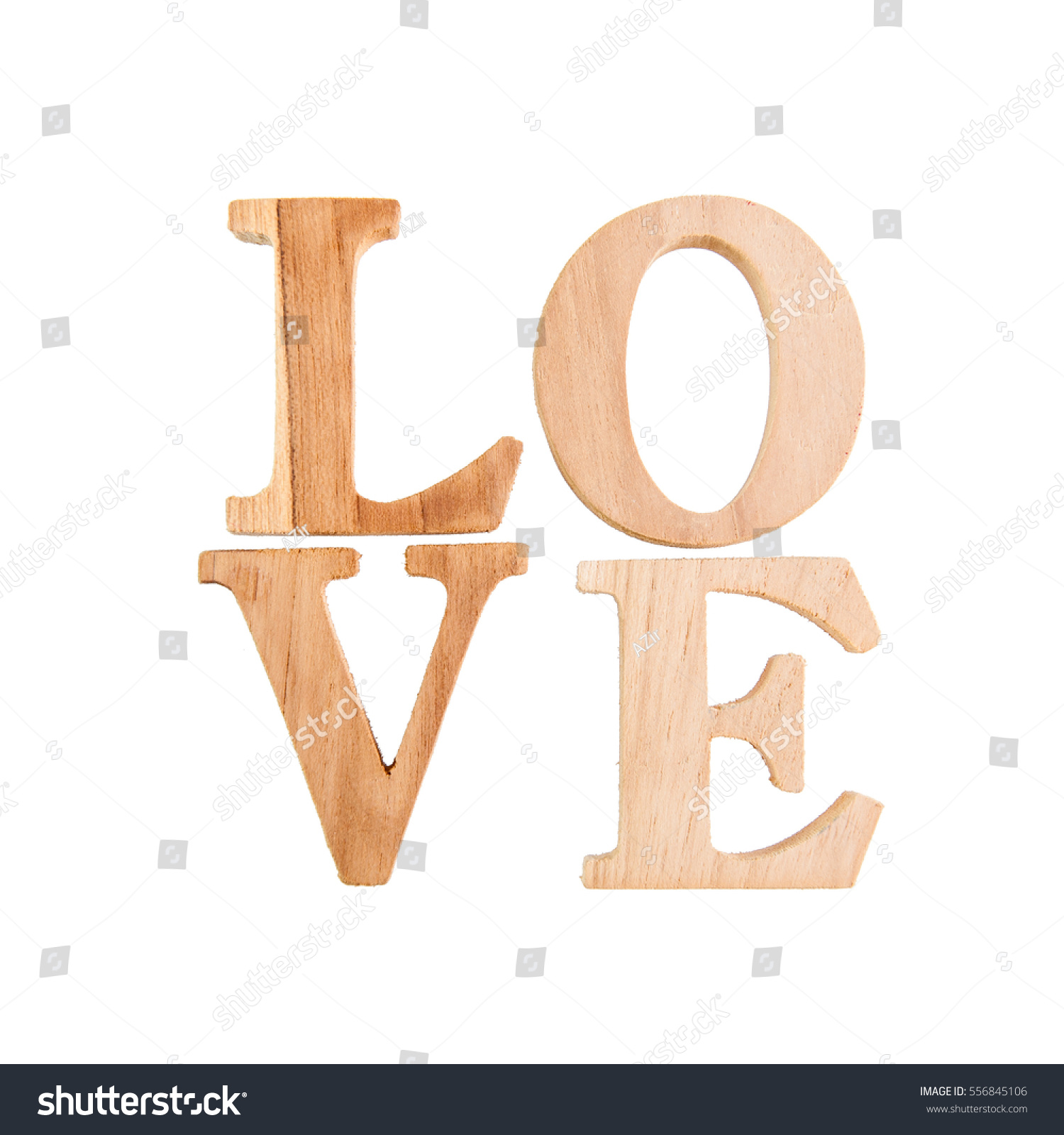 Love Wood Letters Love On White Stock Photo  Image RoyaltyFree