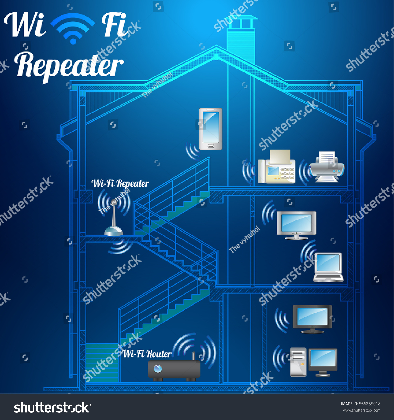Concept Smart Home System Management Wireless Stock Vector Royalty Network Diagram Ids The Of At Wi