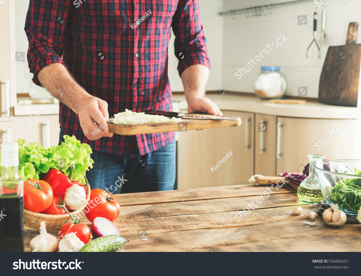 Wooden Food Table ~ Ingredients cooking healthy food on wooden stock photo