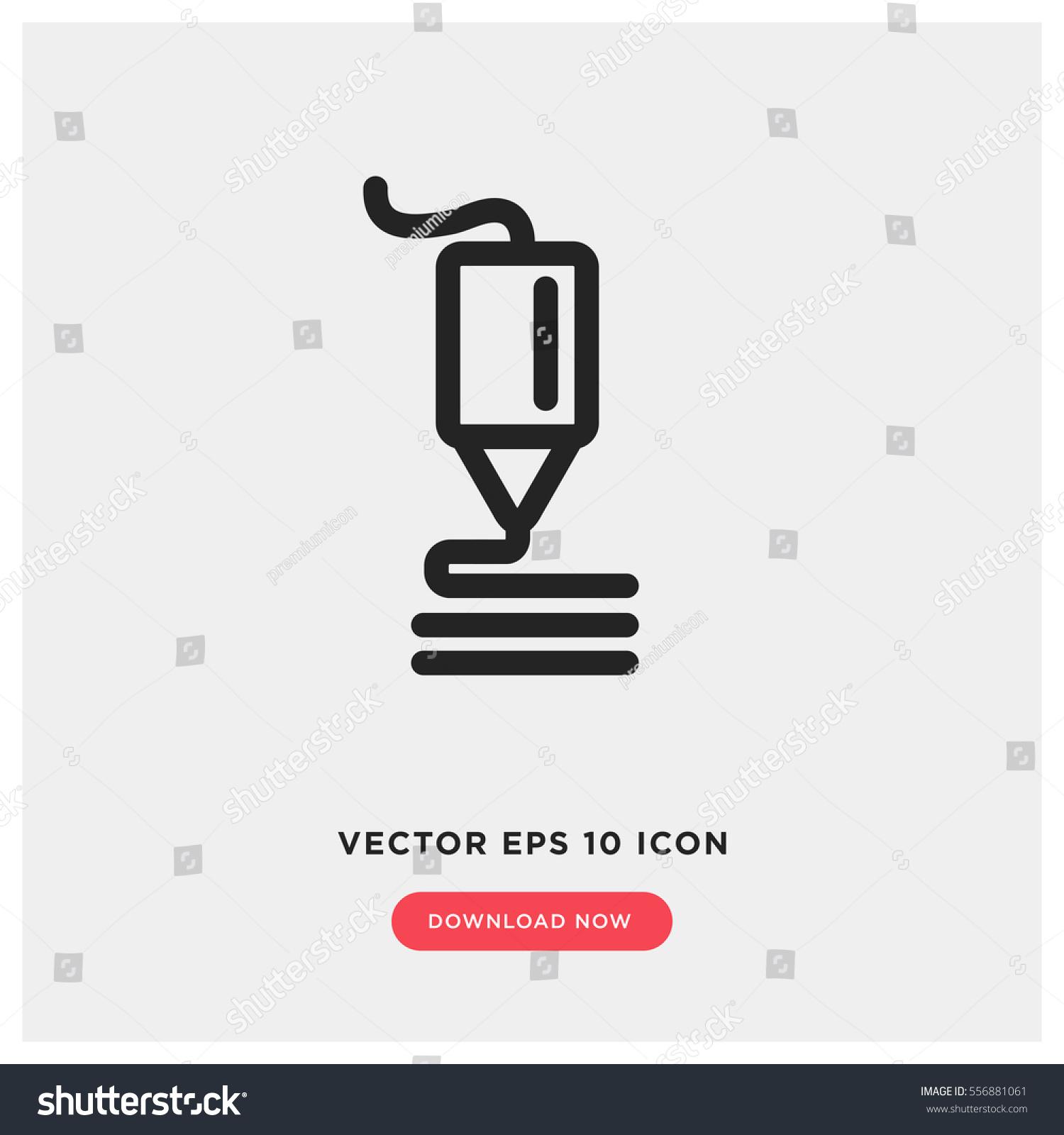 3d Printer Vector Icon Future Technology Stock-vektorgrafik ...