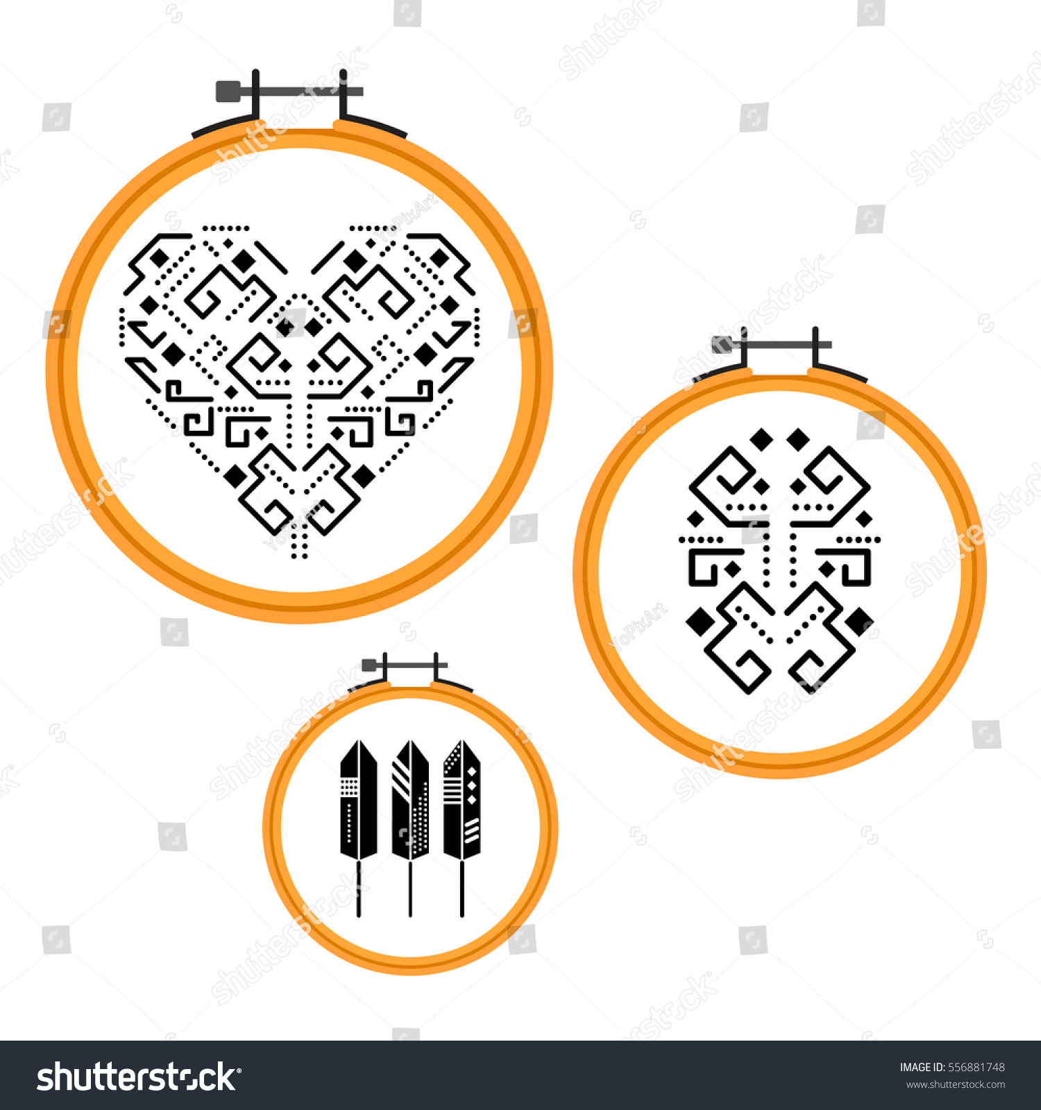 Needlework Tribal Design On Embroidery Hoops Stock Vector (Royalty ...