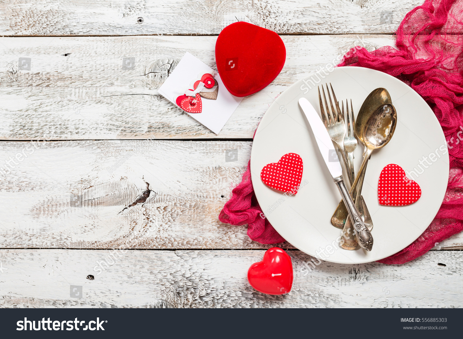 Valentines day table setting table set stock photo for Table 52 valentine s day