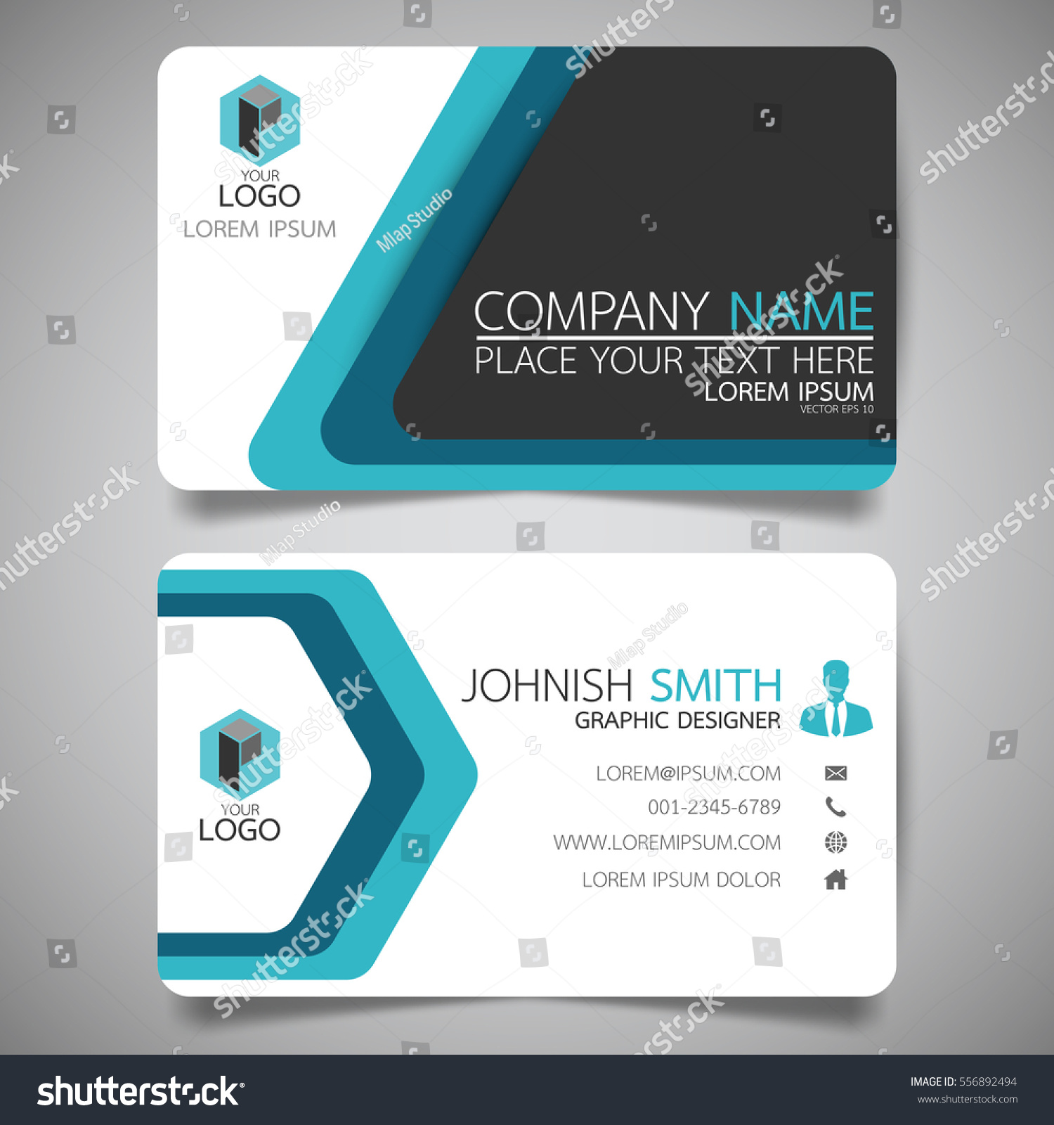 blue modern creative business card name stock vector