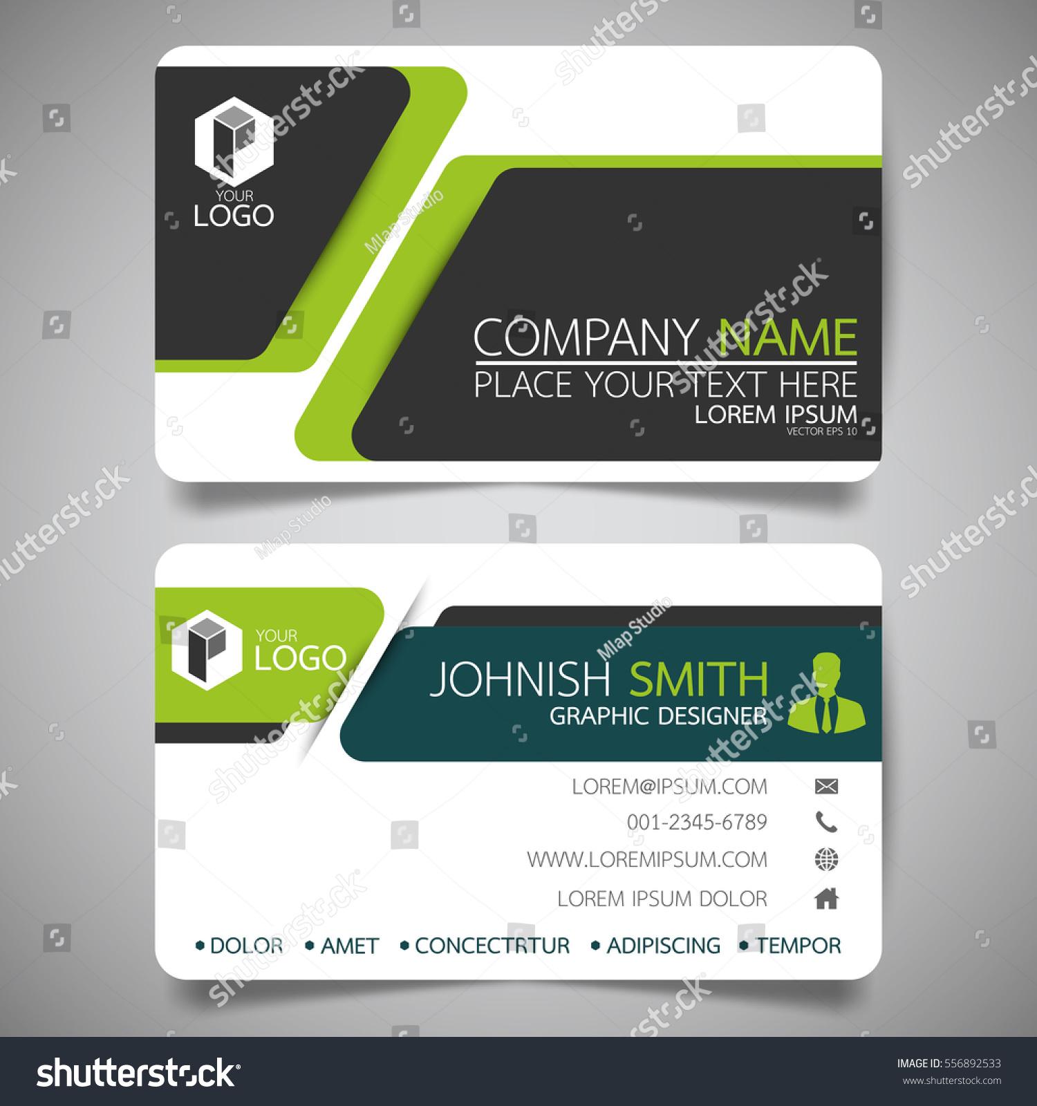 green modern creative business card name stock vector 556892533