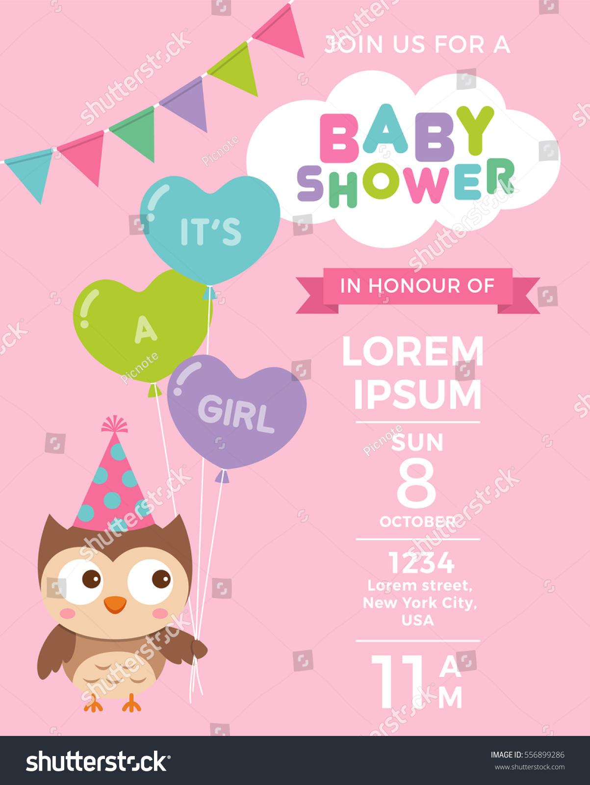 Cute Owl Balloons Baby Shower Invitation Stock Vector HD (Royalty ...