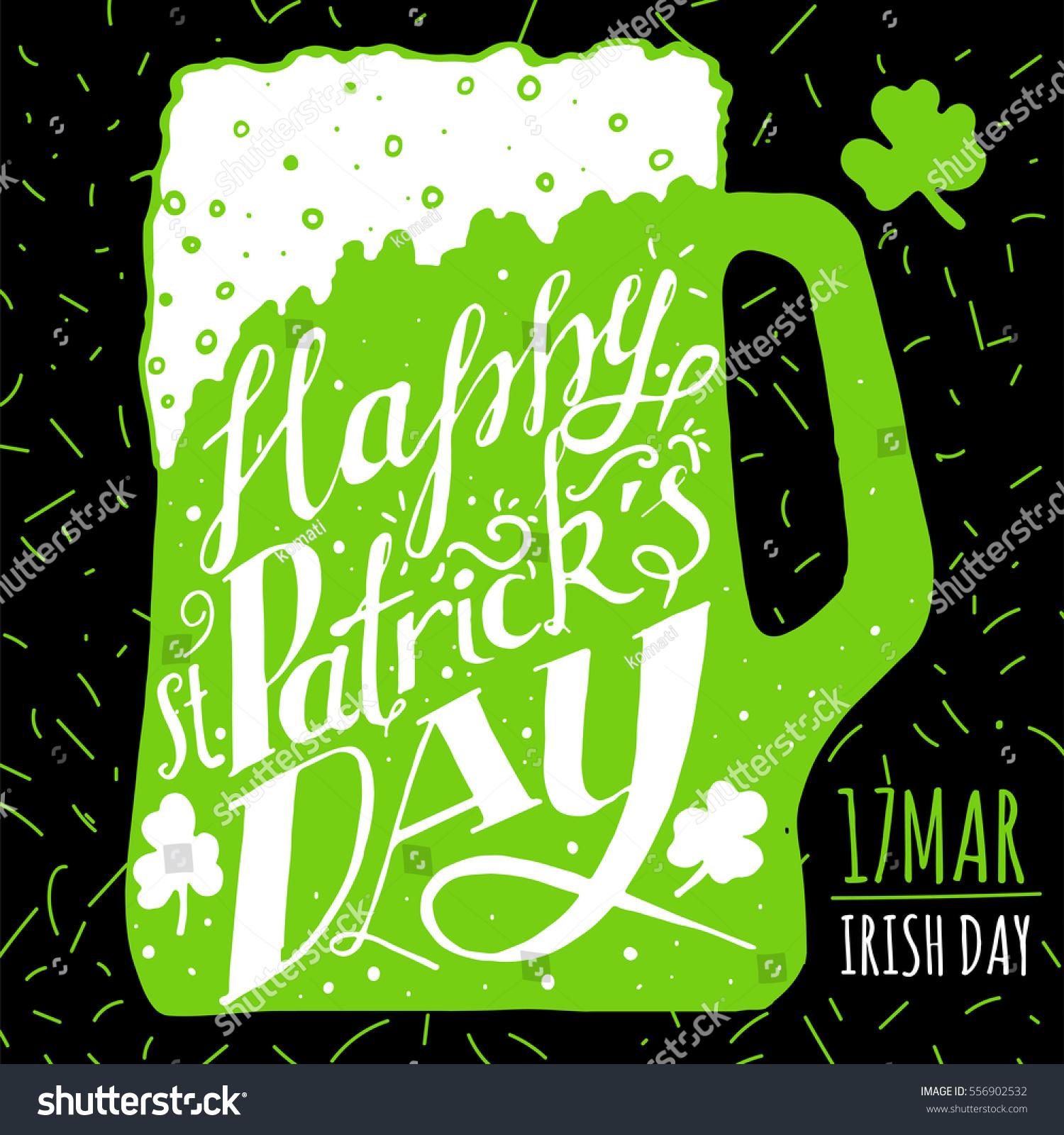 st patricks day greeting lettering st stock vector 556902532