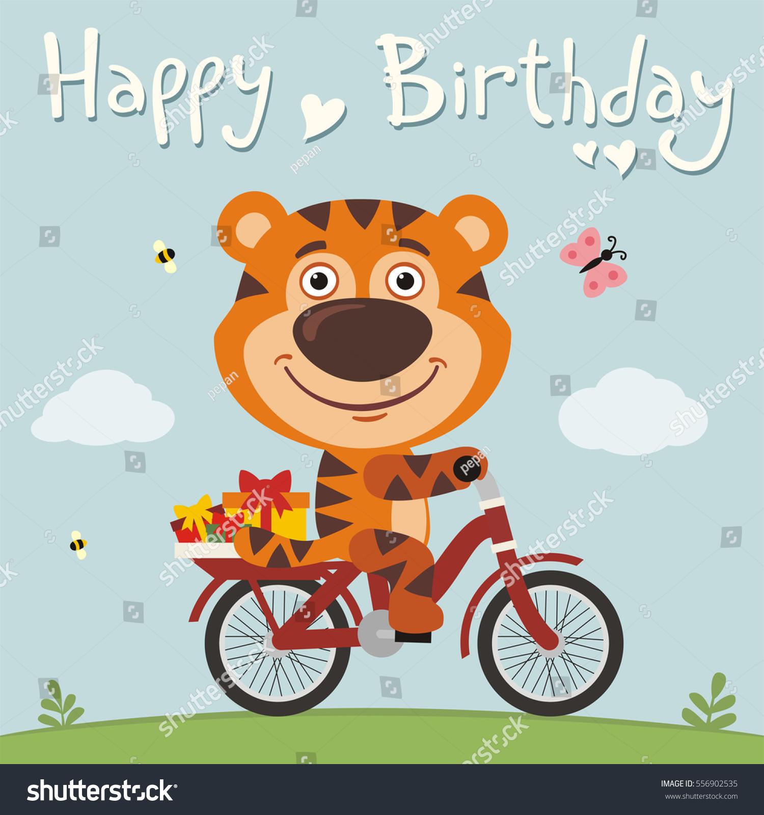 Happy Birthday Funny Tiger Bike Stock Vector