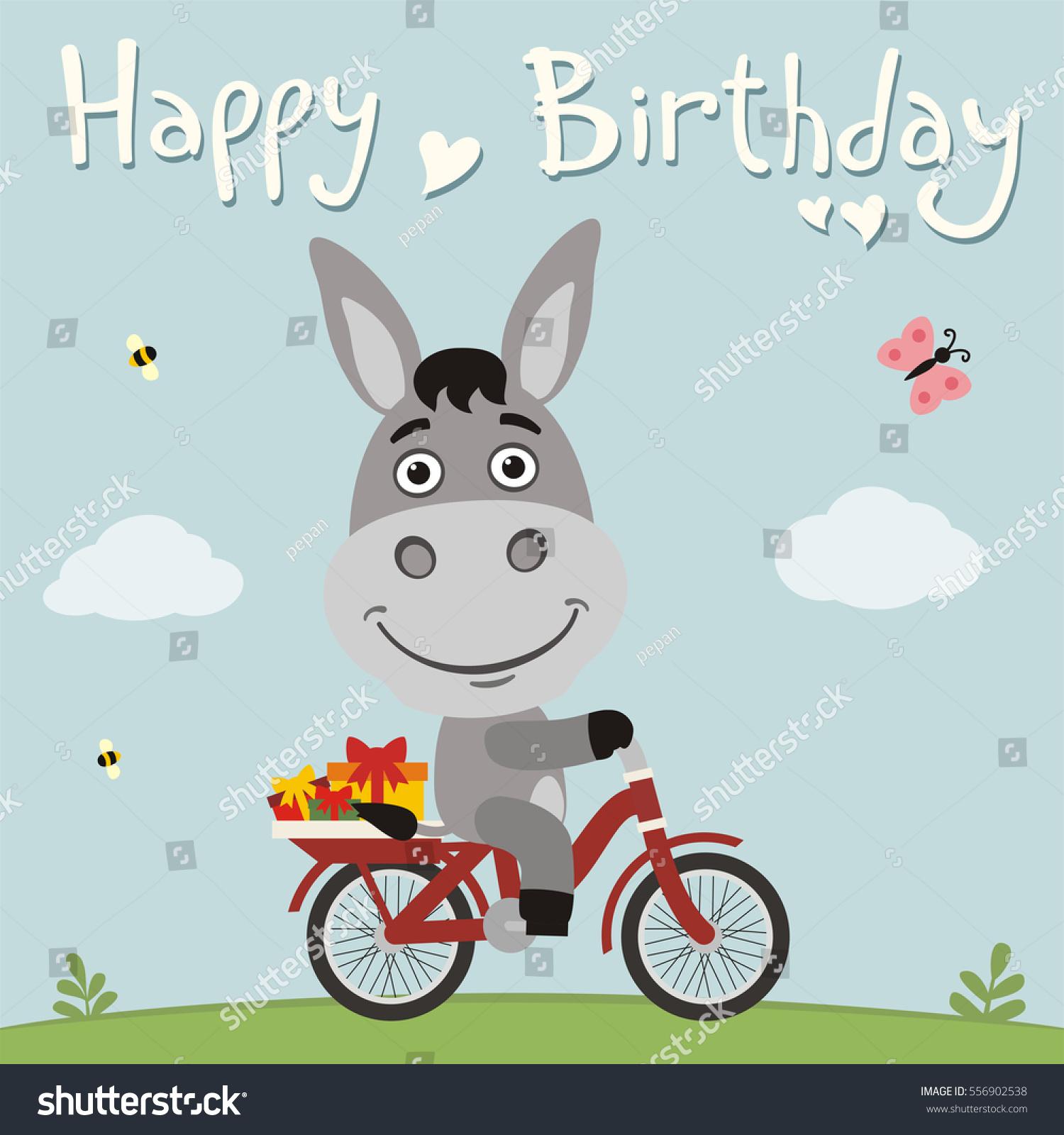 Happy Birthday Funny Donkey On Bike Vector 556902538 – Donkey Birthday Card