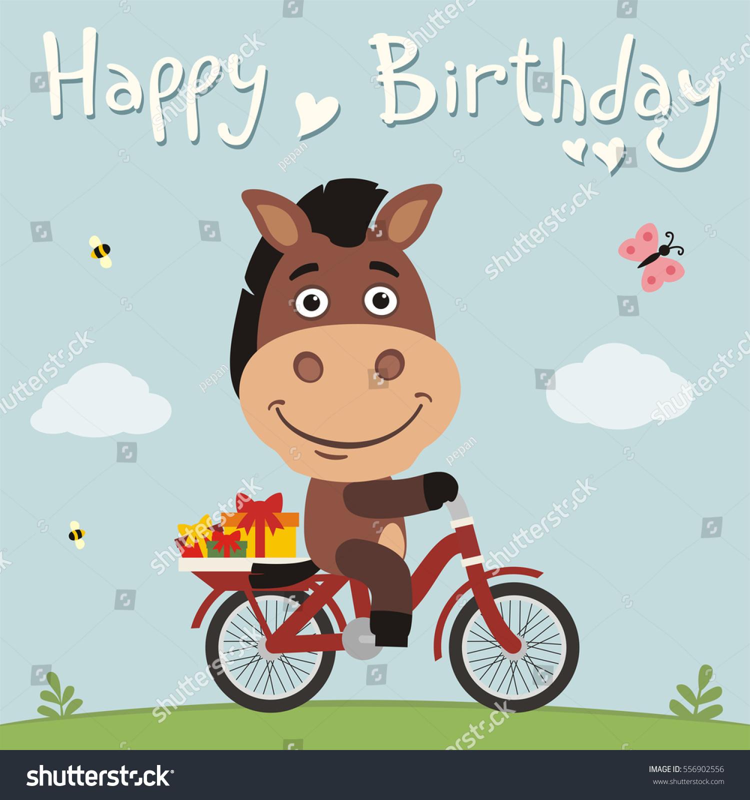 Vector De Stock Libre De Regalias Sobre Happy Birthday Funny Horse On Bike556902556