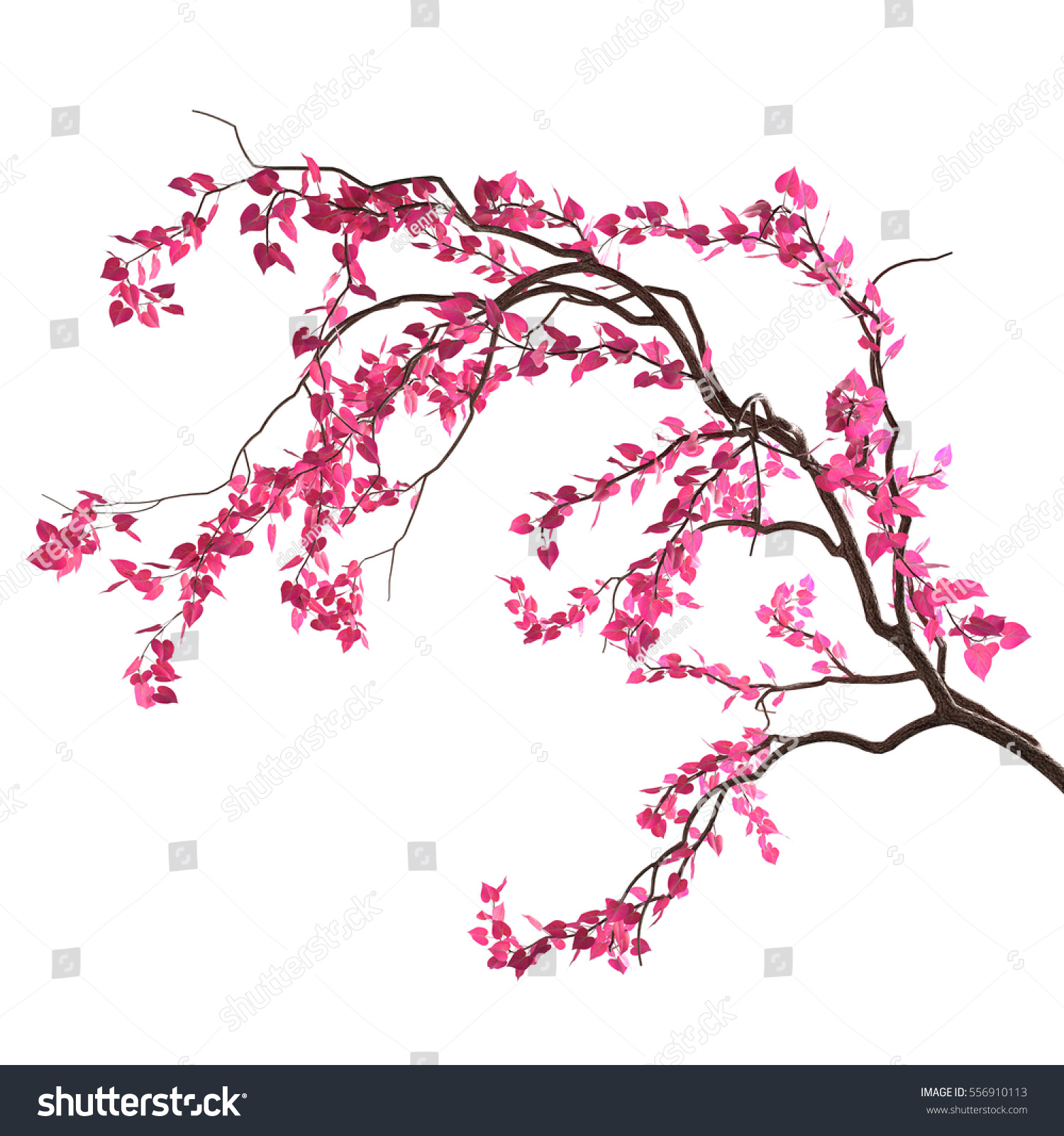 Royalty Free Stock Illustration Of Love Tree Branch Pink Heartshaped