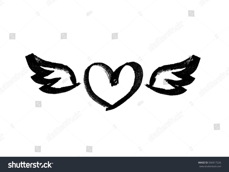 Heart Wings Love Symbol Ink Hand Stock Vector 556917226