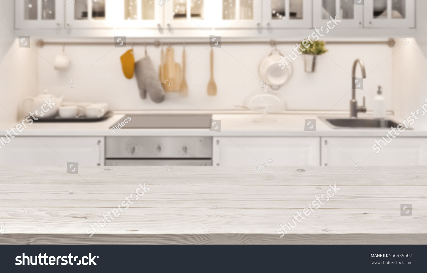 Kitchen Table Top : Kitchen table top blur background cooking stock photo