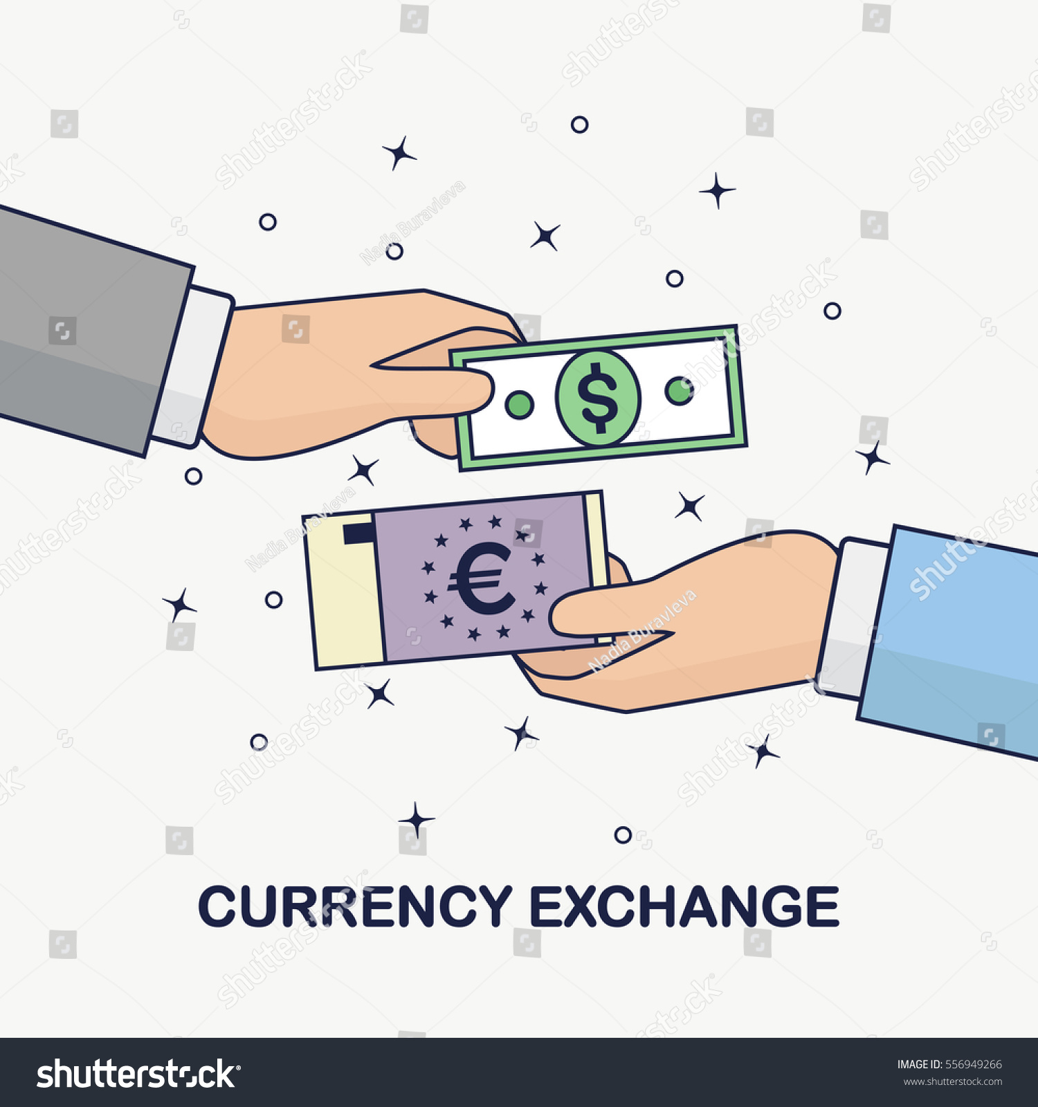 Currency Exchange Foreign Money Transfer Dollar Stock Vector