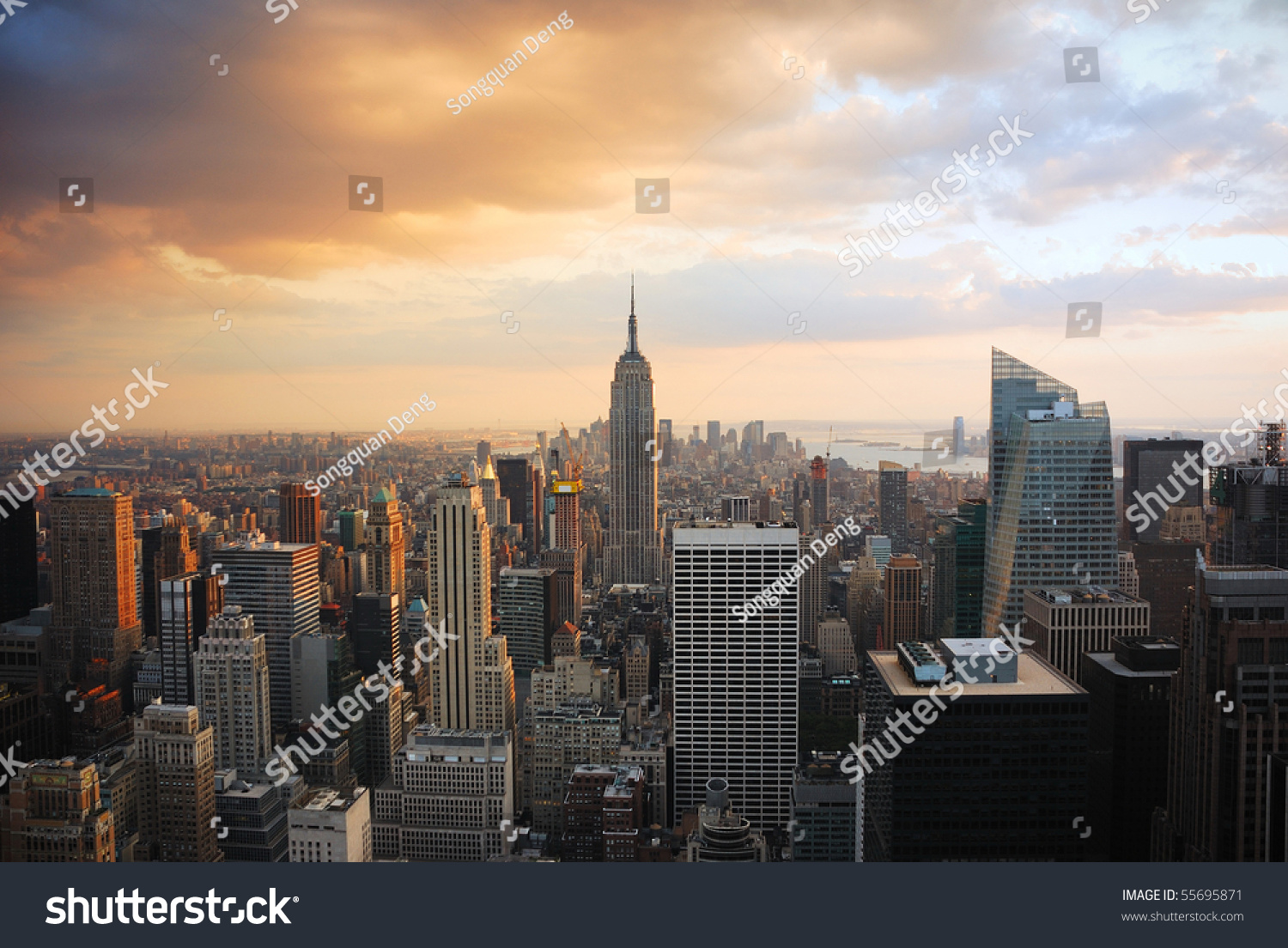 new york city manhattan skyline sunset stock photo 55695871 shutterstock. Black Bedroom Furniture Sets. Home Design Ideas