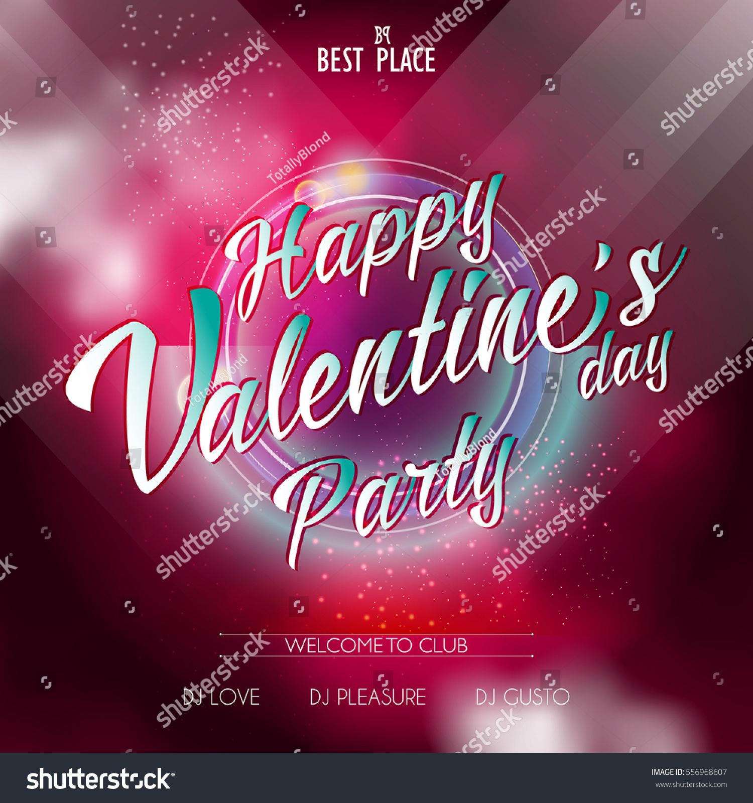 Happy Valentines Day Lettering Party Flyer Stock Vector