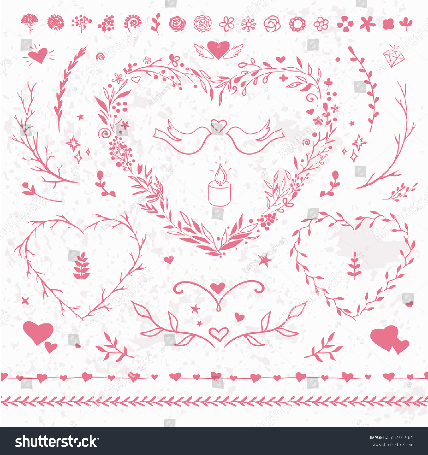 Romantic Vector Floral Set Valentines Day Stock Vector (2018 ...