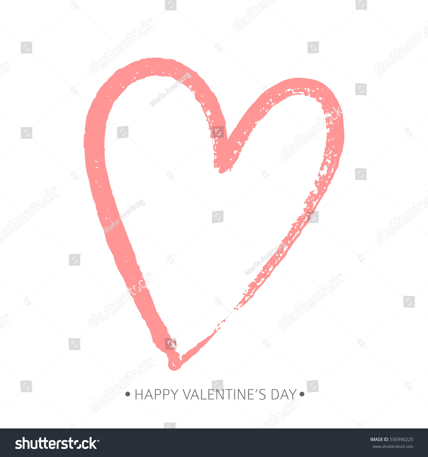 Brush Drawing Calligraphy Heart Card Vector Stock Vector