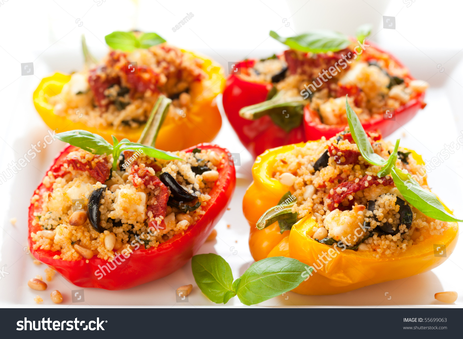 Stuffed Peppers With Couscous, Dried Tomatoes,Feta,Olives ...