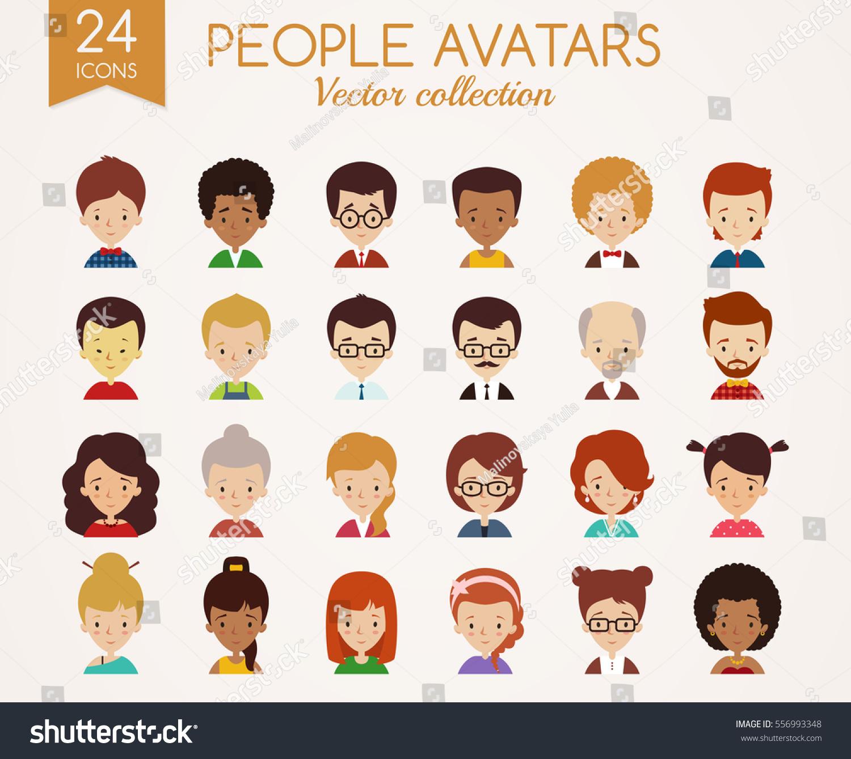 Set Cute Avatars Male Female Faces Stock Vector 556993348