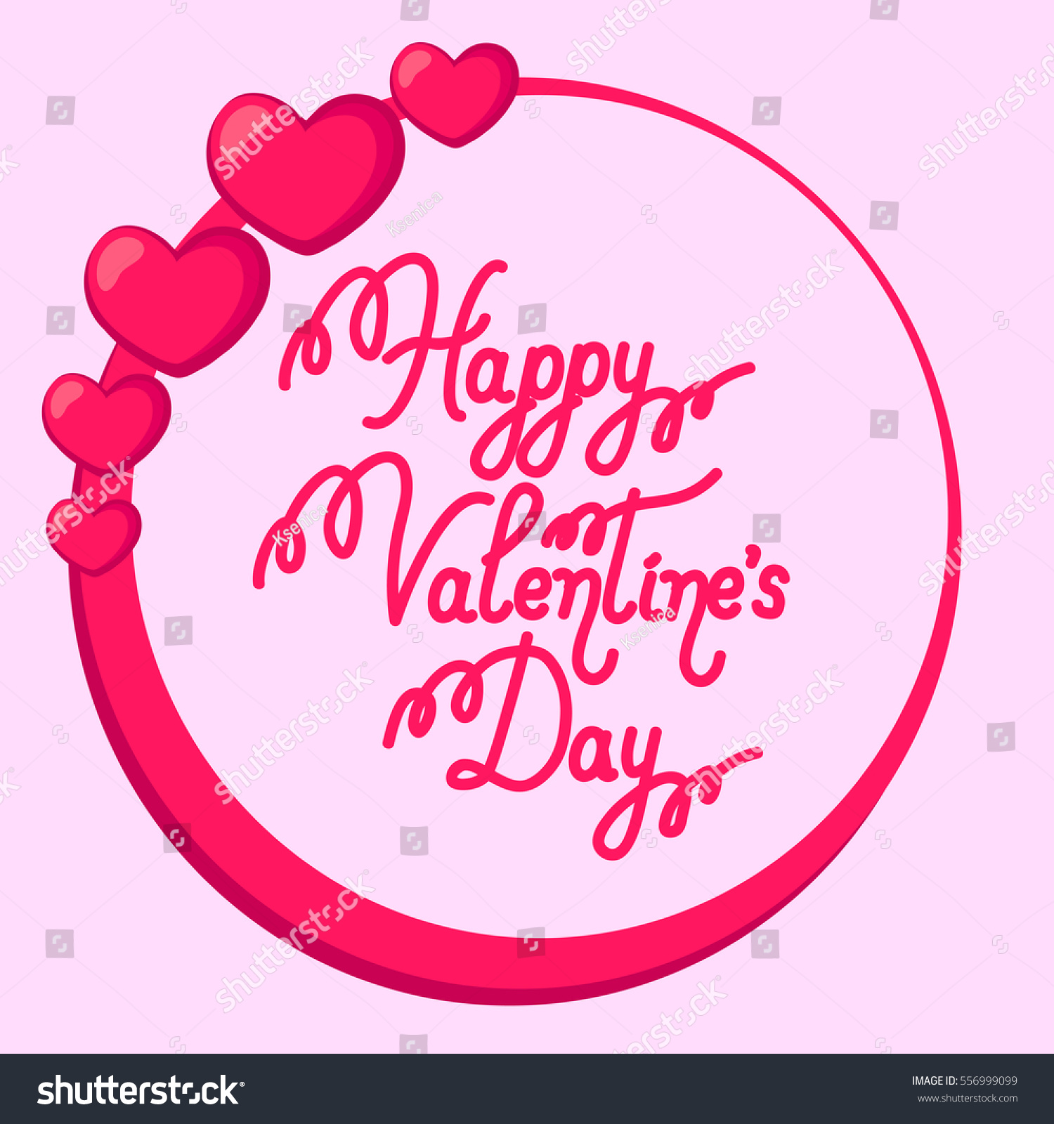 Happy Valentines Day Greeting Card Text Stock Vector 556999099