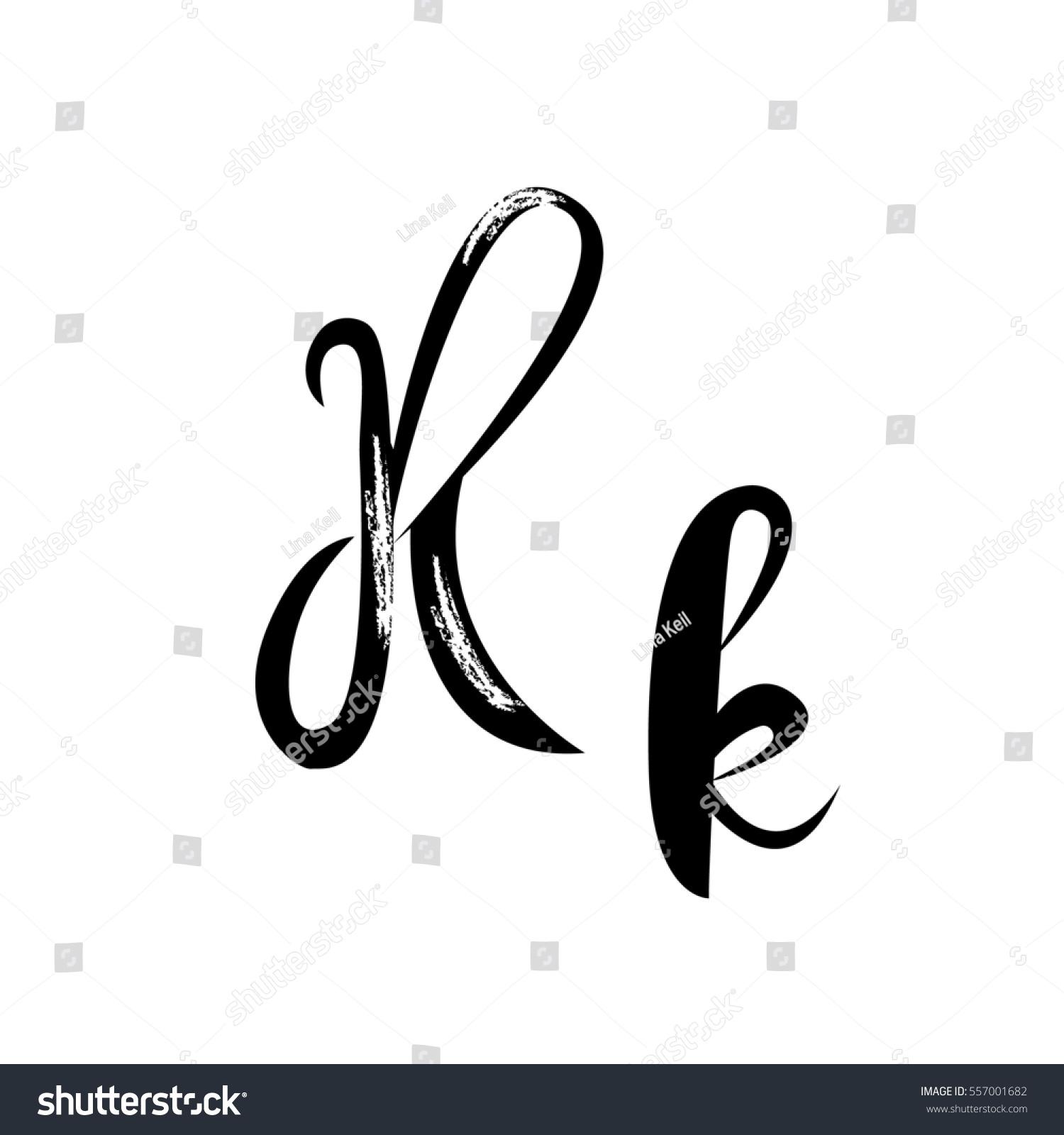letter k alphabet lettering calligraphy manuscript stock