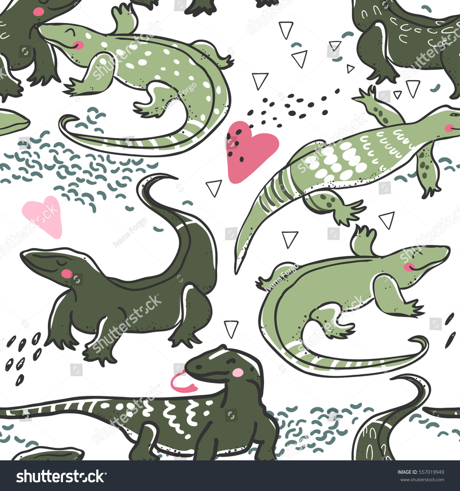 seamless pattern monitor lizards love stock vector 557019949