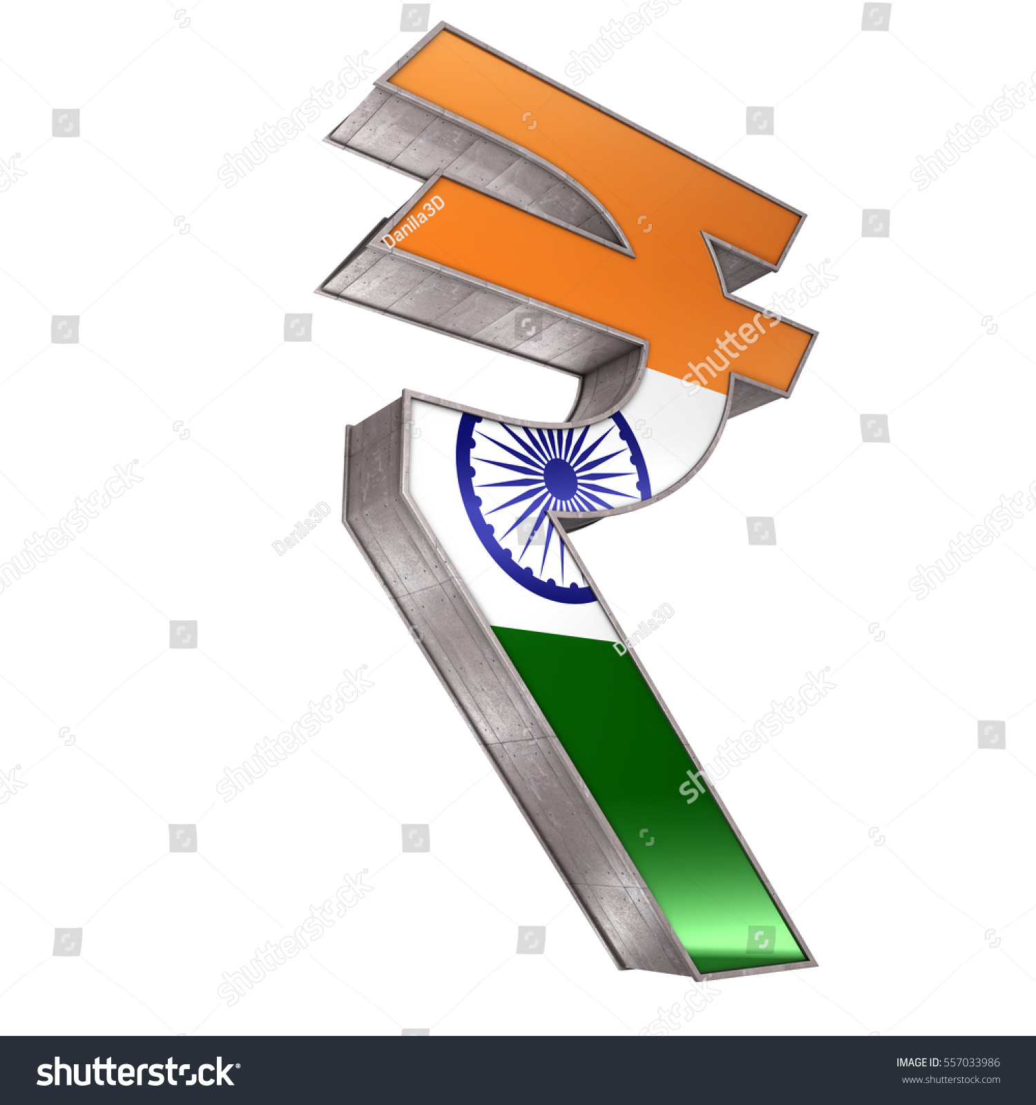 Indian Rupee Symbol 3 D Render Isolated Stock Illustration 557033986