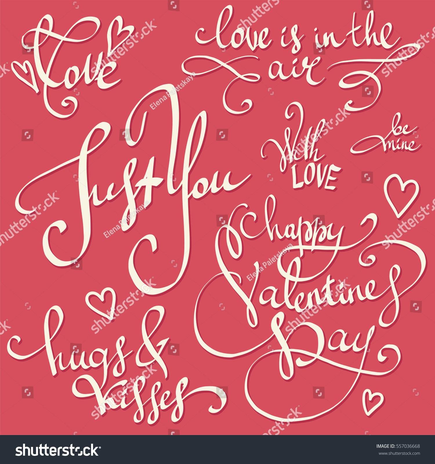 Happy Valentines Day Lettering Decorations Vector Stock Vector ...