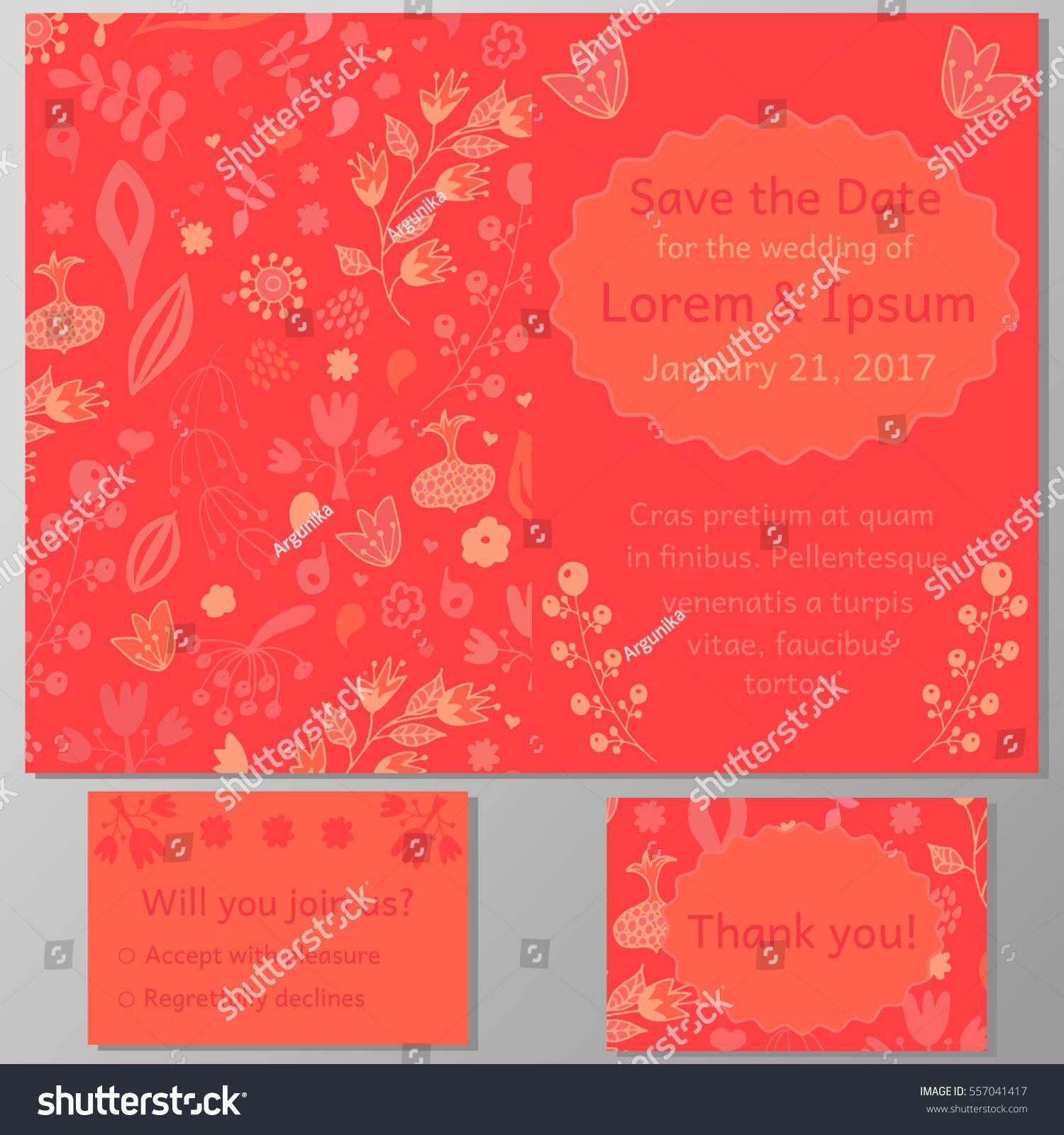 Wedding Invitation Card Thank You Card Stock Vector 557041417 ...
