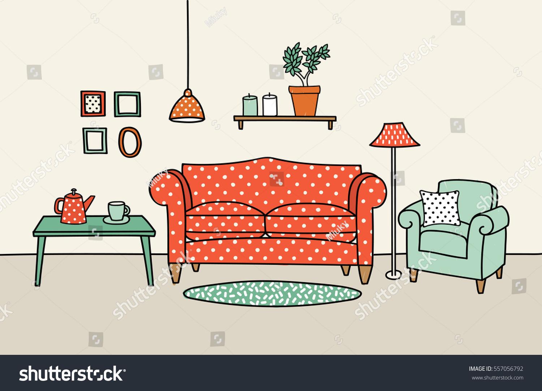 Vector Illustration Living Room Interior Handdrawn Stock Vector ...