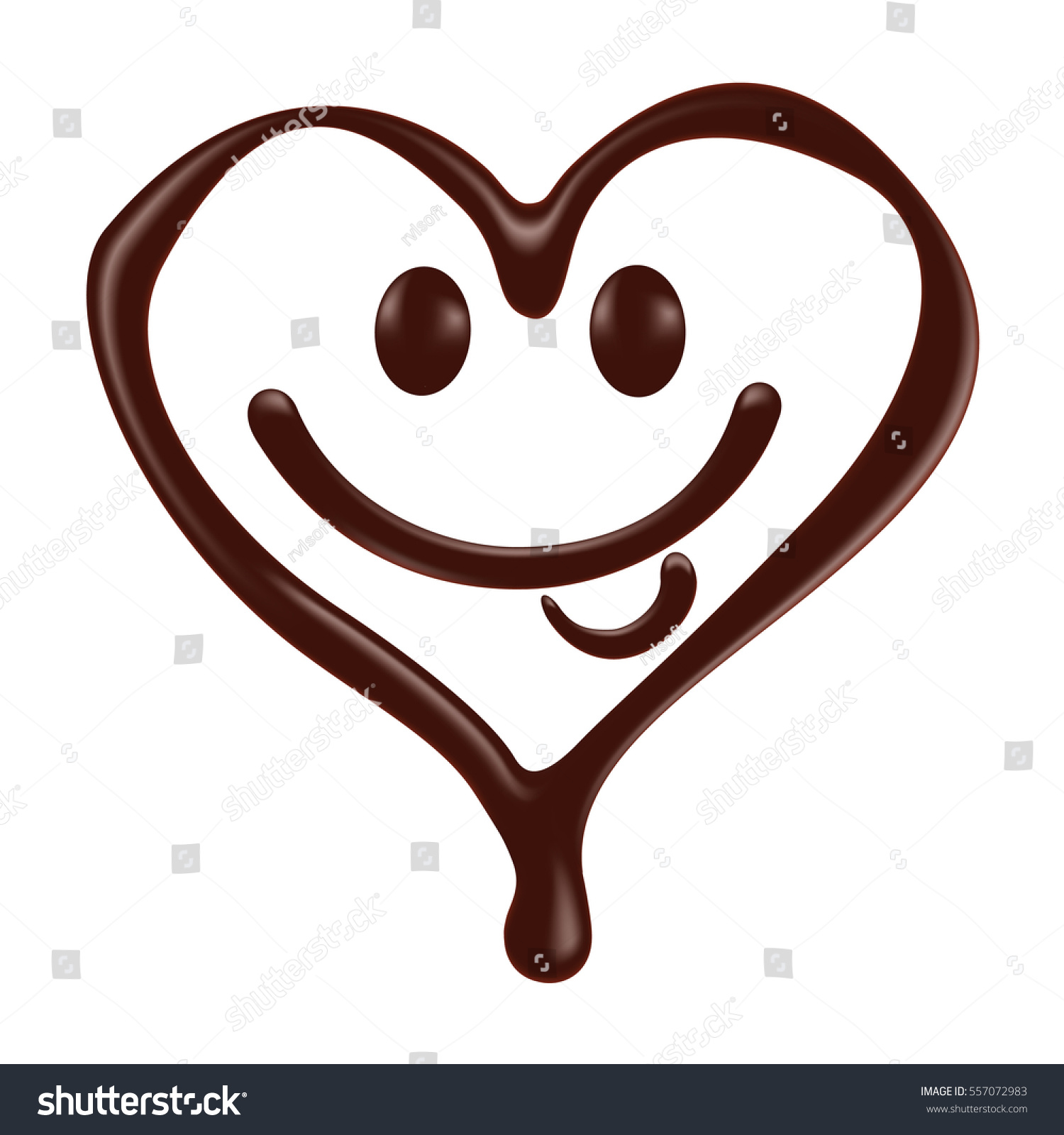 Chocolate heart shape smiley face on stock vector 557072983 chocolate heart shape smiley face on white background realistic vector illustration biocorpaavc Image collections