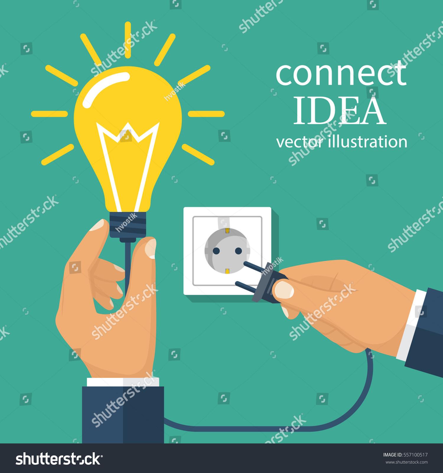 Connect Idea Business Team Holding Lightbulb Stock Vector (Royalty ...