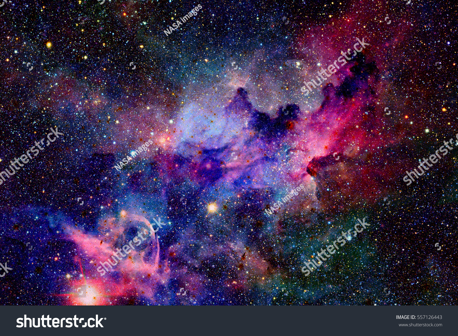 Nebula and galaxies in space. Elements of this image furnished by NASA. #557126443