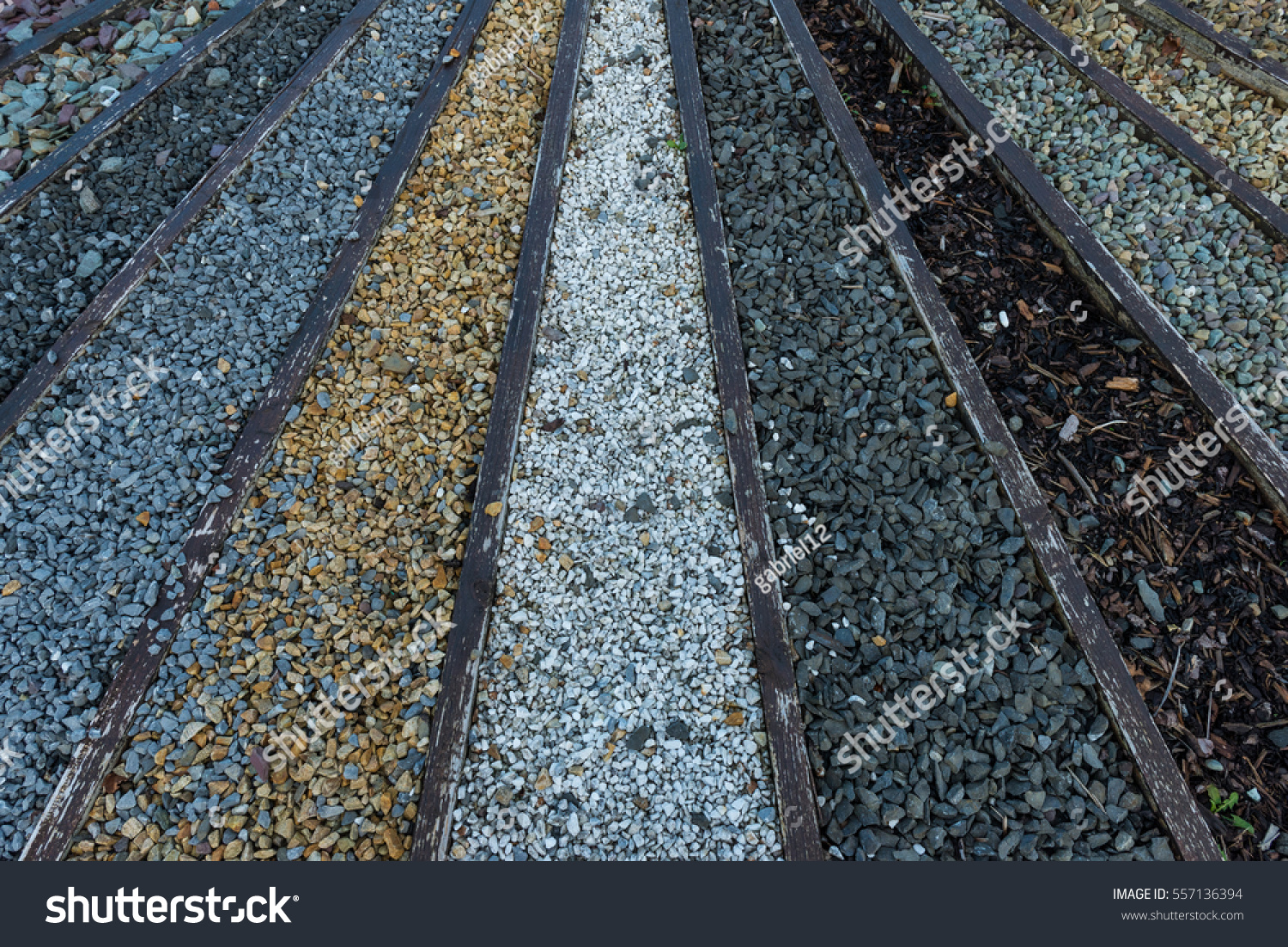 Various types of stone and gravel pebbles for garden landscaping